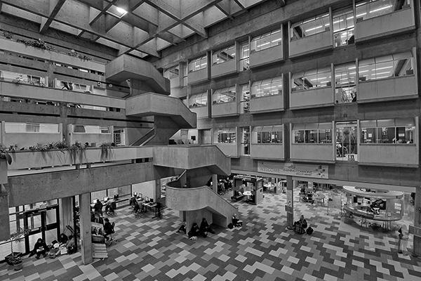 black and white photo of the Scott Library atrium