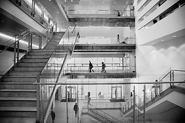 black and white photo of the TEL building atrium